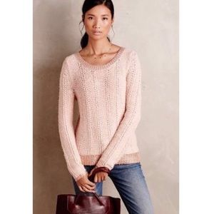 Moth ANTHROPOLOGIE Pink Metallic Contrast Sweater